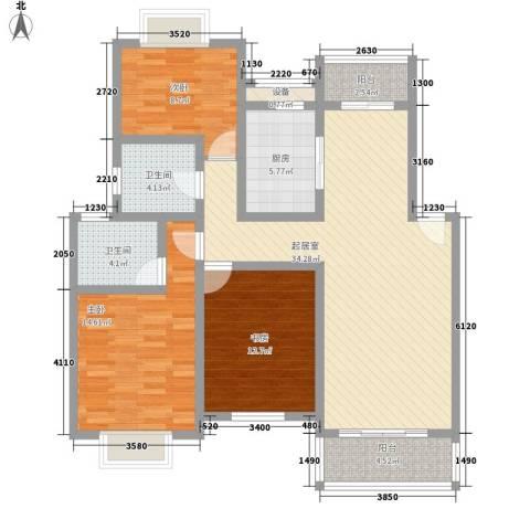 多伦多国际花园3室0厅2卫1厨135.00㎡户型图