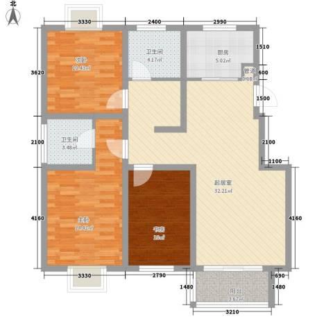 云天・蒙之苑3室0厅2卫1厨109.00㎡户型图