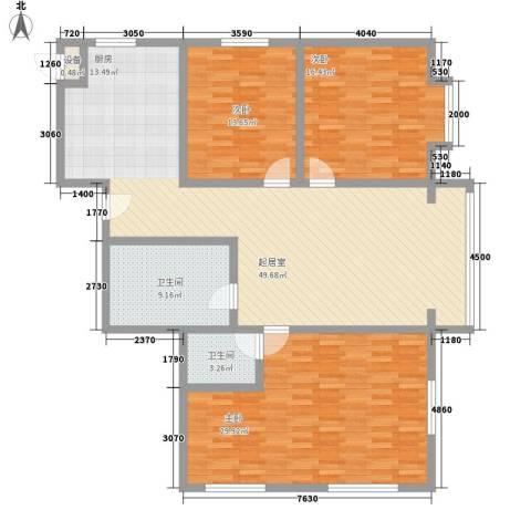 水宜家苑3室0厅2卫0厨161.00㎡户型图