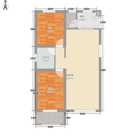 泰安盛世2室0厅1卫1厨89.00㎡户型图