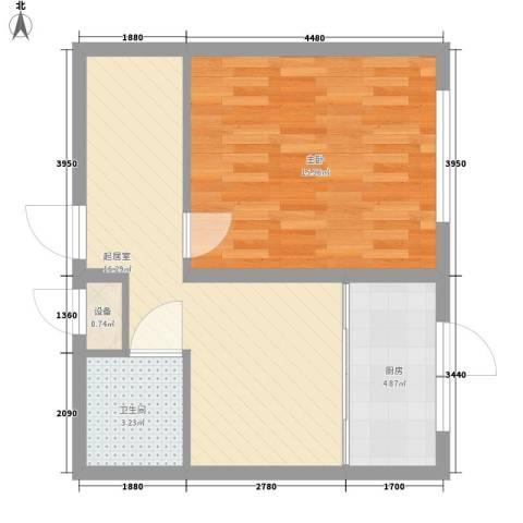 水宜家苑1室0厅1卫1厨64.00㎡户型图