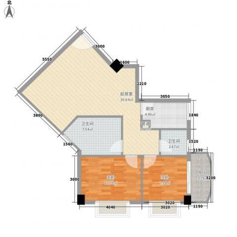 颐和上院二期2室0厅2卫1厨87.00㎡户型图
