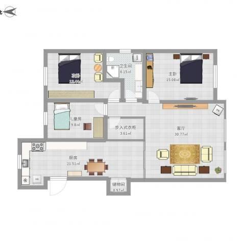 北斗家园3室1厅1卫1厨114.82㎡户型图