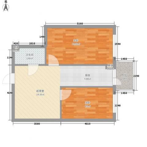 东泰金谷2室0厅1卫0厨66.00㎡户型图