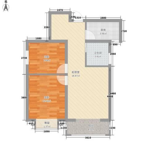 君德城上城2室0厅1卫1厨77.00㎡户型图