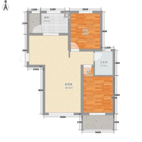 泰安盛世2室0厅1卫1厨88.00㎡户型图
