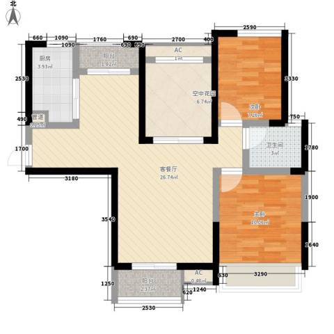 融科九重锦2室1厅1卫1厨95.00㎡户型图