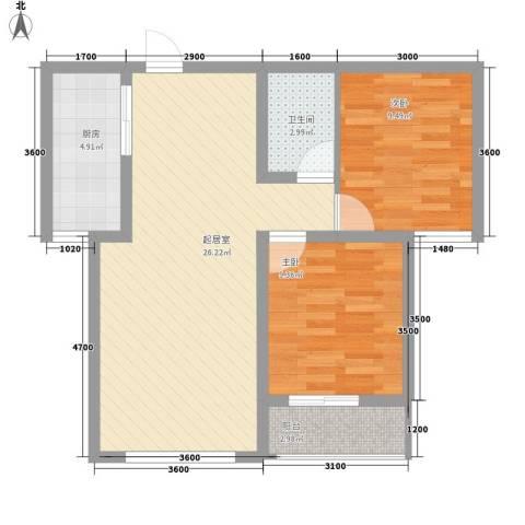 泰安盛世2室0厅1卫1厨81.00㎡户型图