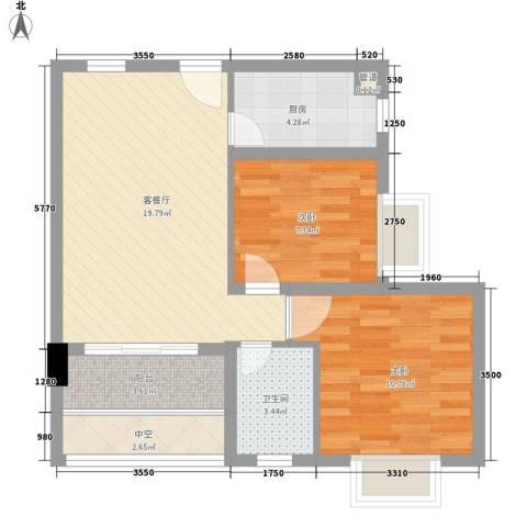 合兴福邸2室1厅1卫1厨67.00㎡户型图