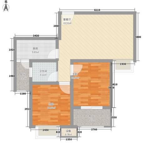 新里魏玛公馆2室1厅1卫1厨87.00㎡户型图