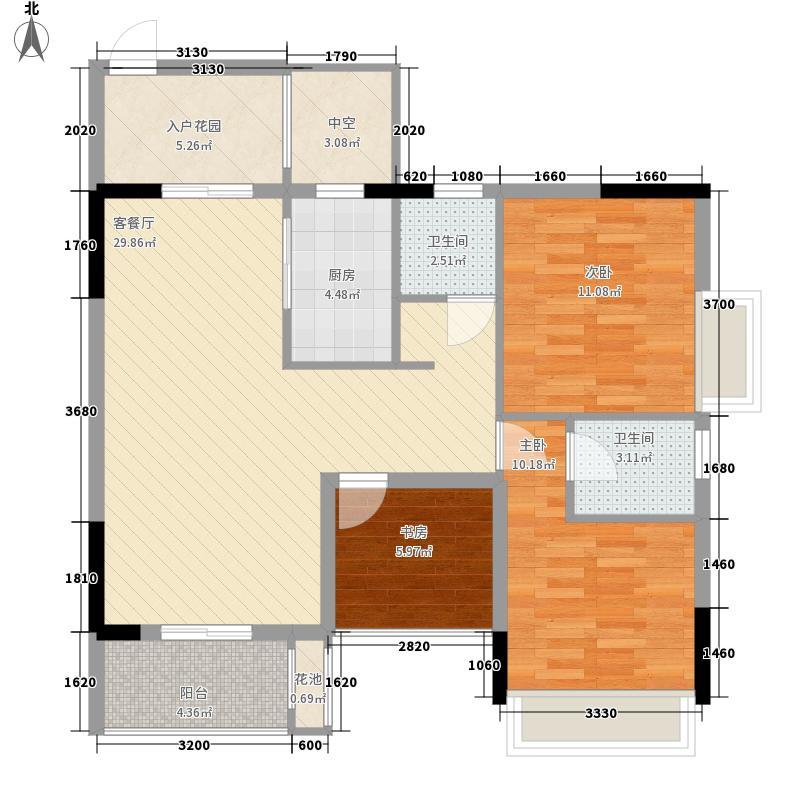 阳光金沙8.70㎡16幢05单元户型3室2厅2卫1厨