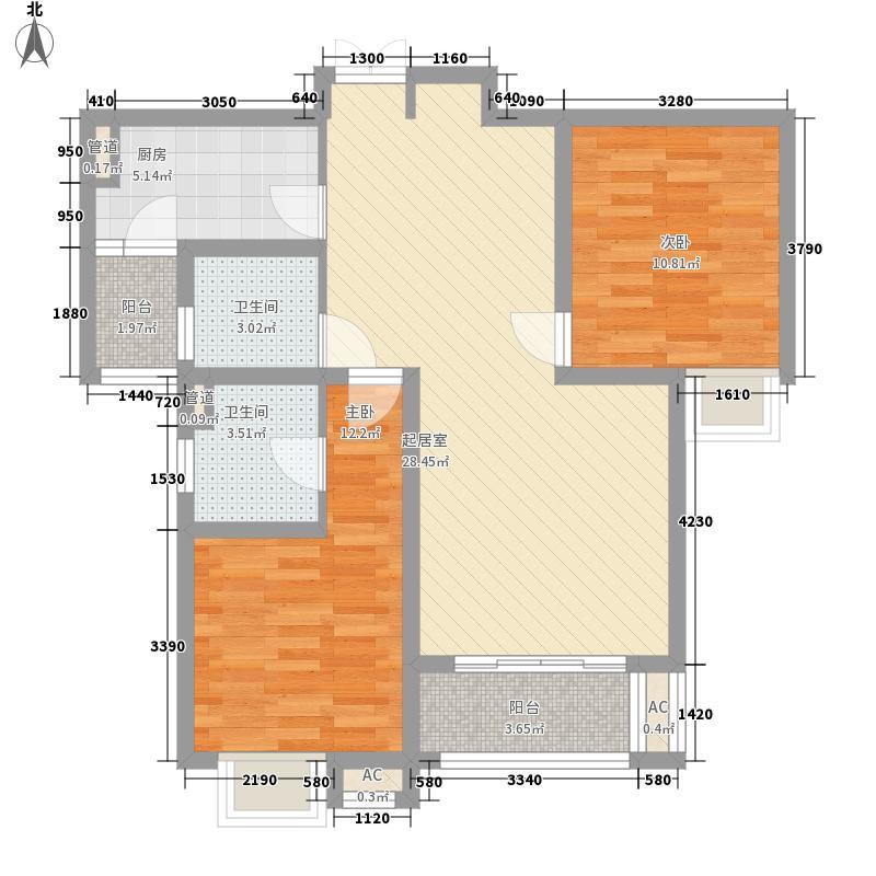 御景华庭103.88㎡C户型2室2厅1卫1厨