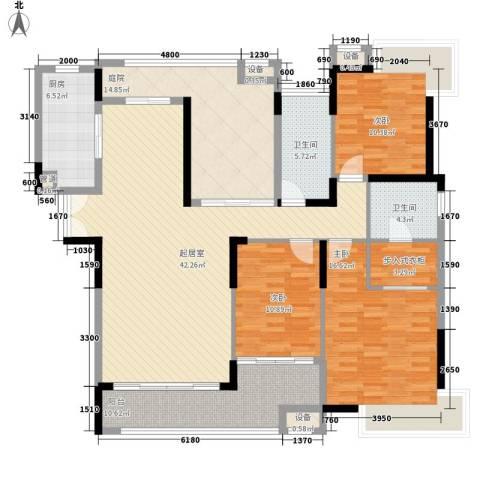 金域中央3室0厅2卫1厨159.00㎡户型图