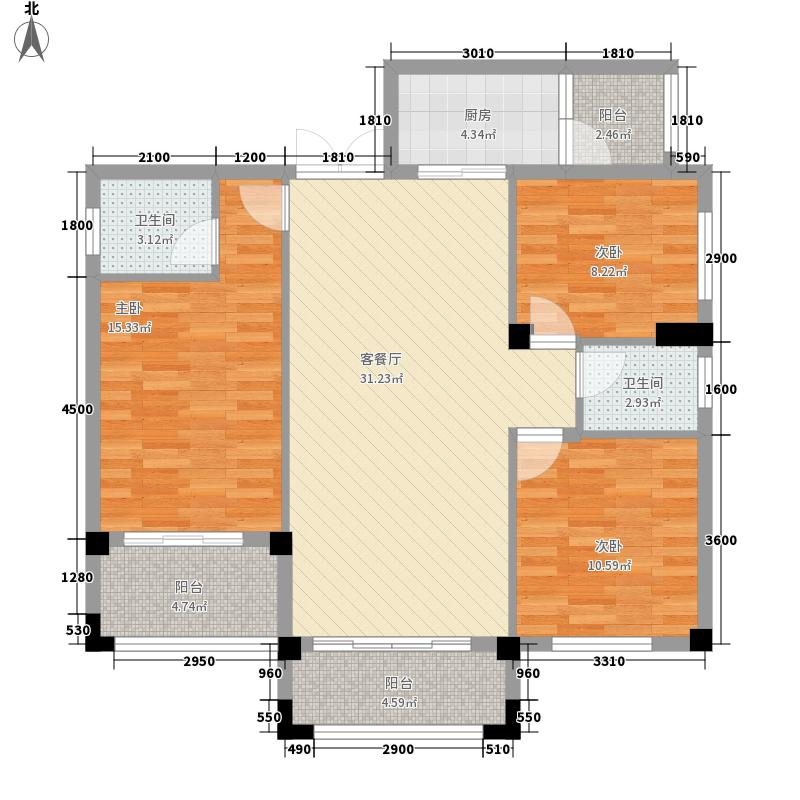 碧园香槟小镇13.50㎡一期D户型3室2厅2卫1厨
