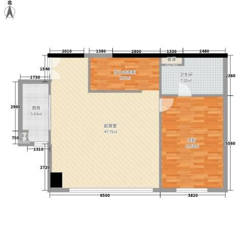 汇银铭尊一期汇银河滨一号1室0厅1卫1厨111.00㎡户型图