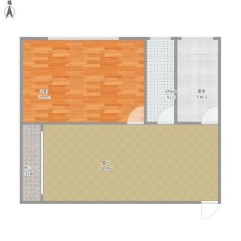 华府新天地1室1厅1卫1厨90.00㎡户型图