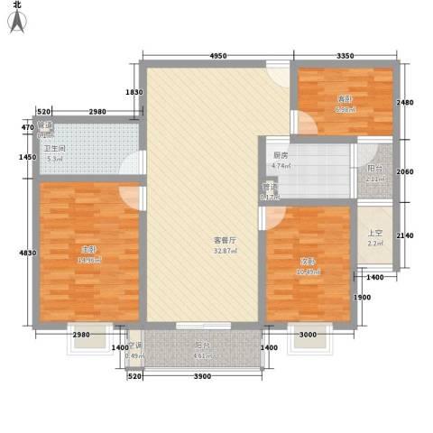 长风新城公元20103室1厅1卫1厨95.00㎡户型图