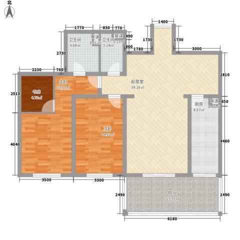 新兴大厦3室0厅2卫1厨123.00㎡户型图