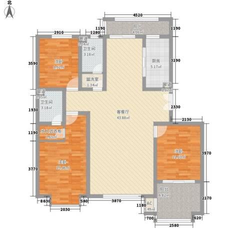 枫丹白露3室1厅2卫1厨153.00㎡户型图