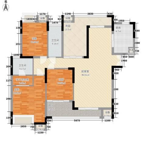 金域中央3室0厅2卫1厨153.00㎡户型图