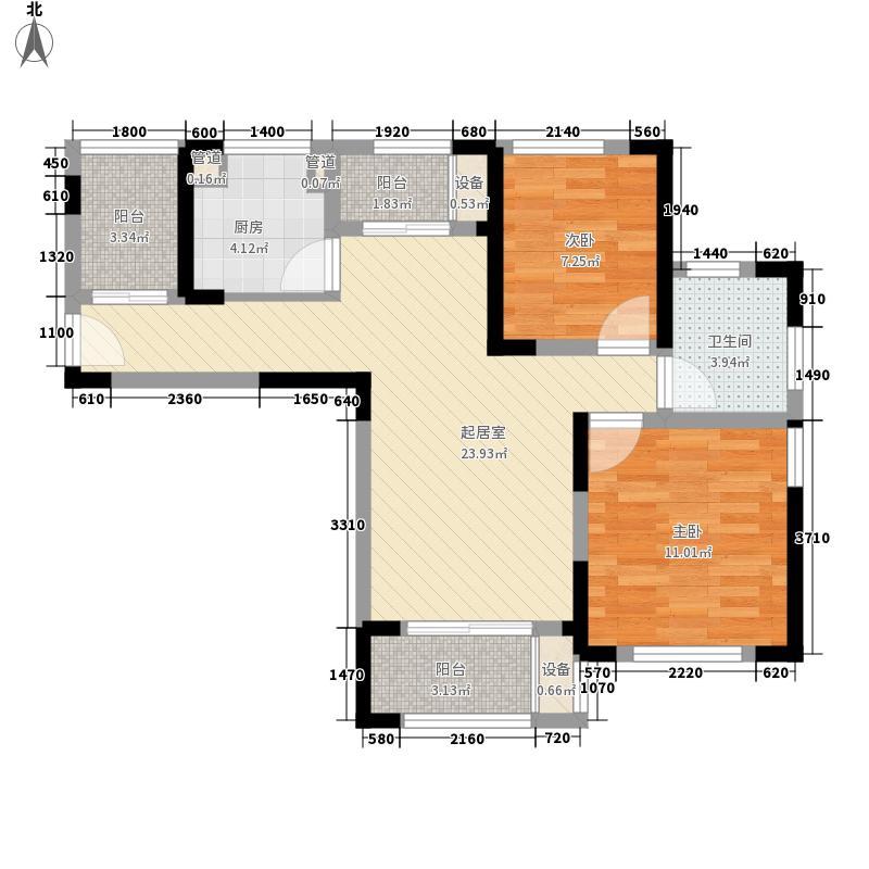永新大成�90.00㎡永新大成�户型图7#13#标准层B户型2室2厅1卫1厨户型2室2厅1卫1厨