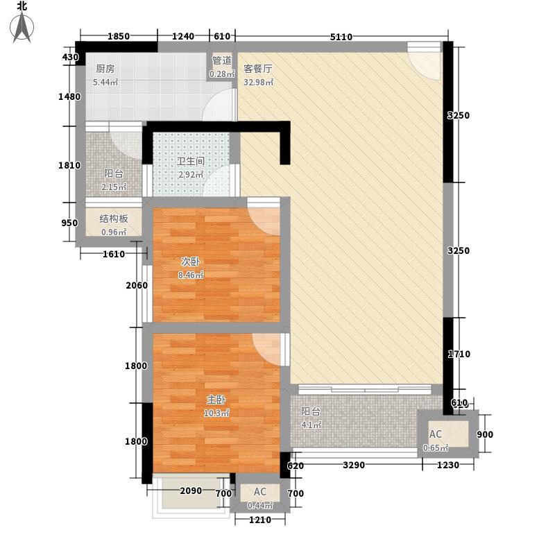华晨山水印象9栋02、03户型2室2厅1卫1厨