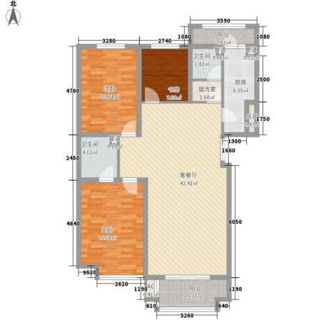 枫丹白露3室1厅2卫1厨148.00㎡户型图