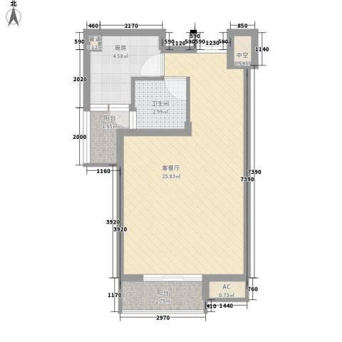 南湖家园1厅1卫1厨58.00㎡户型图