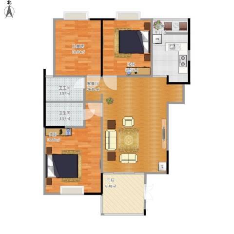 富山・东城海岸3室1厅2卫1厨114.00㎡户型图