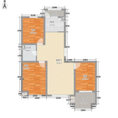 枫丹白露3室1厅1卫1厨118.00㎡户型图