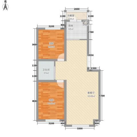 家源19532室1厅1卫1厨89.00㎡户型图