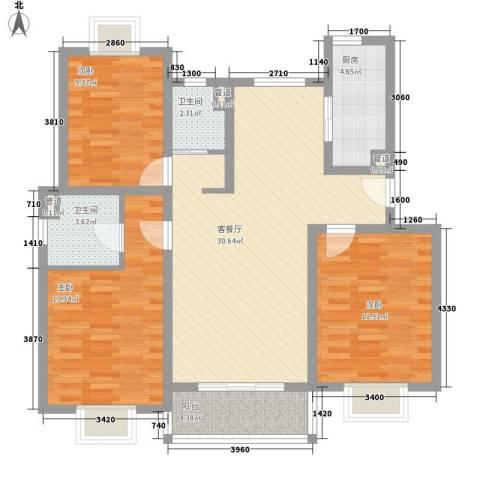 富浩河滨花园3室1厅2卫1厨119.00㎡户型图