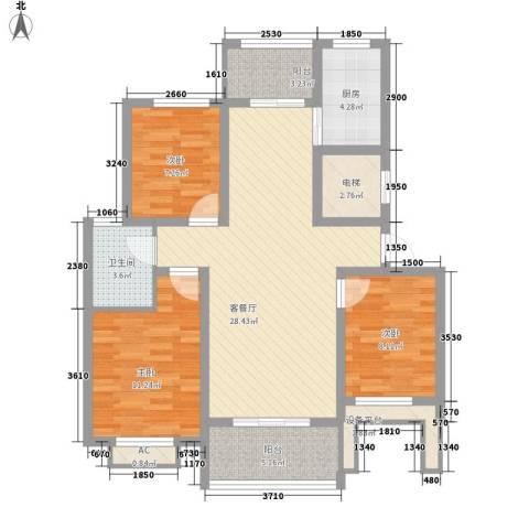 景荣花园3室1厅1卫1厨140.00㎡户型图