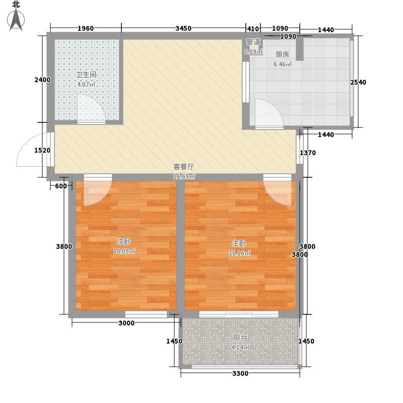 东润国际新城74.11㎡26号楼1-03户型2室2厅1卫1厨