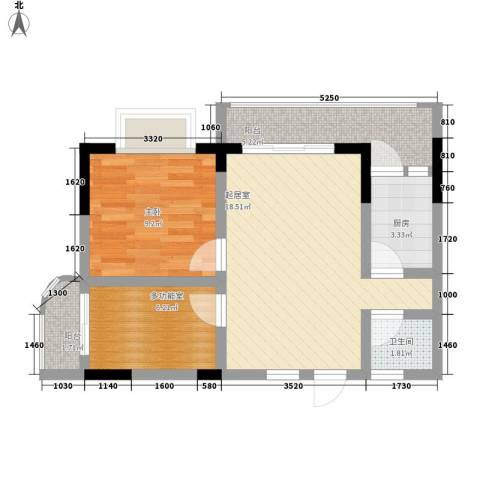 澜湖岸边1室0厅1卫1厨54.80㎡户型图