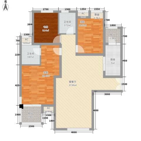 美林湾3室1厅2卫1厨134.00㎡户型图