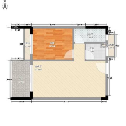 景荣花园1室1厅1卫1厨55.00㎡户型图