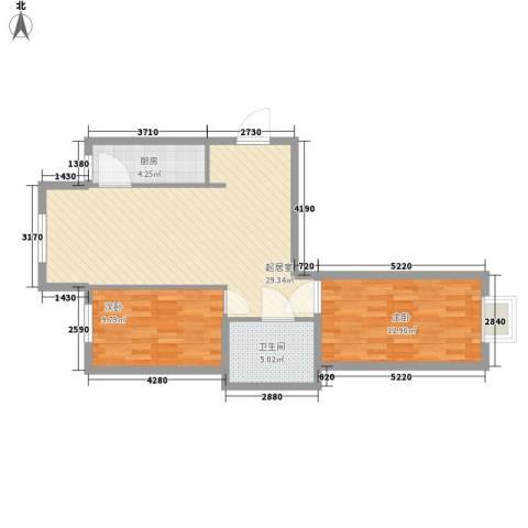 水语青城2室0厅1卫1厨87.00㎡户型图