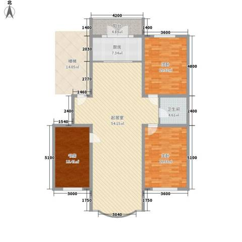 金山小区3室0厅1卫1厨145.00㎡户型图