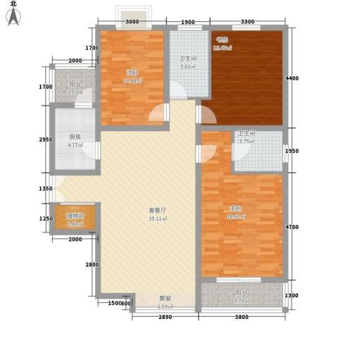 美林湾3室1厅2卫1厨145.00㎡户型图