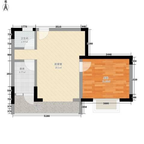 澜湖岸边1室0厅1卫1厨48.25㎡户型图