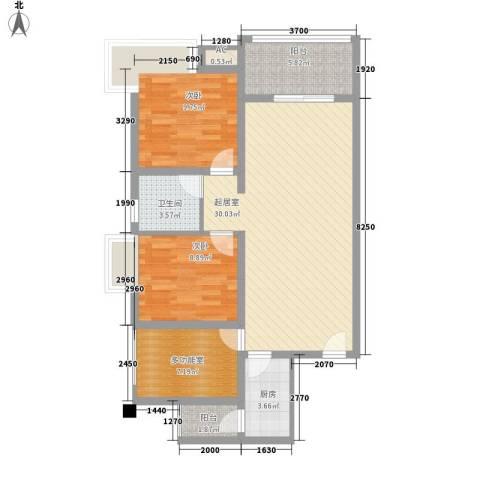 澜湖岸边2室0厅1卫1厨82.32㎡户型图