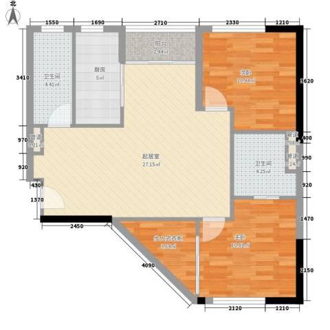 莫奈印象2室0厅2卫1厨97.00㎡户型图