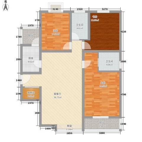 美林湾3室1厅2卫1厨146.00㎡户型图