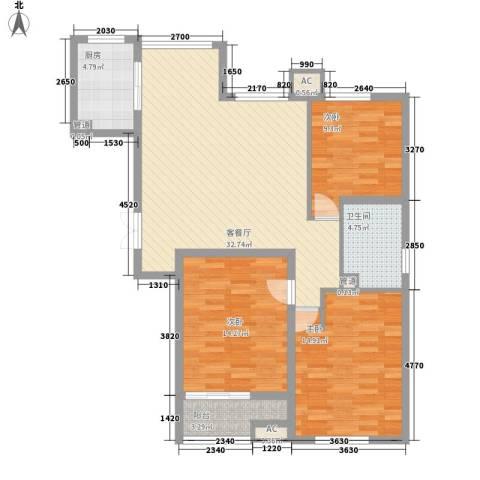 青山湾3室1厅1卫1厨121.00㎡户型图