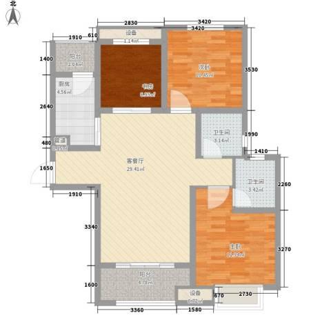 万科高新华府3室1厅2卫1厨115.00㎡户型图