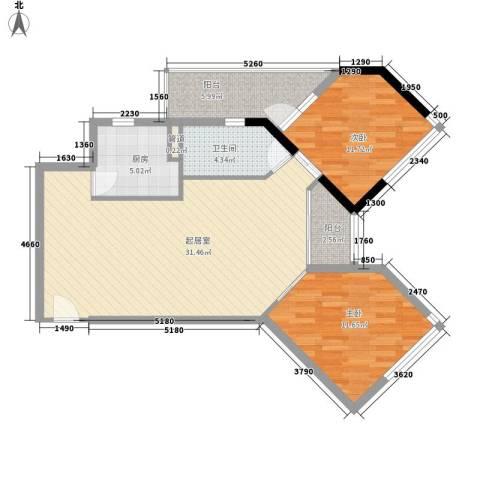 莫奈印象2室0厅1卫1厨101.00㎡户型图