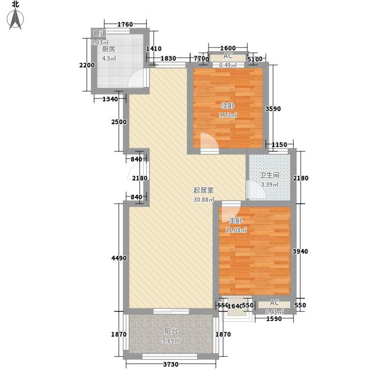 龙韵怡景苑97.53㎡H1户型2室2厅1卫