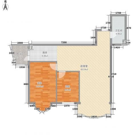东泰金谷2室0厅1卫0厨104.00㎡户型图