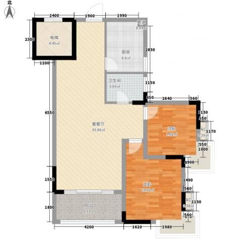 五龙桂园2室1厅1卫1厨79.20㎡户型图
